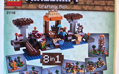 Front of first instruction manual of LEGO Minecraft 21115 Crafting Box