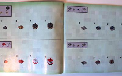 Instructions for small vignettes of LEGO Minecraft 21115 Crafting Box