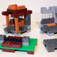 First step of building the outdoor model of LEGO Minecraft 21115 Crafting Box