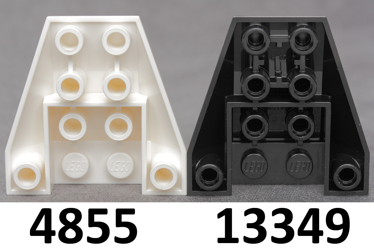This mold variation has stud holes without internal stoppers and 2  connections between 4 front studs.