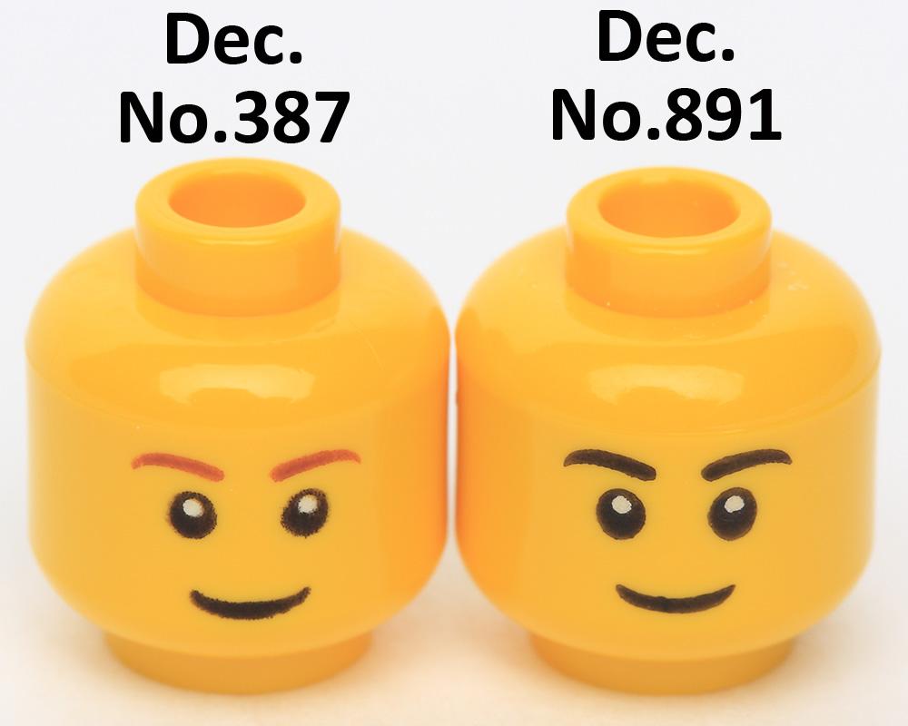 Lego New Yellow Minifig Head Black Eyebrows Thin Grin Black Eyes